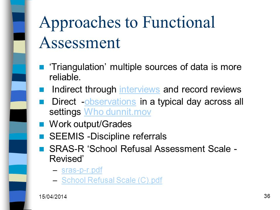 Approaches to Functional Assessment Triangulation multiple sources of data is more reliable. Indirect through interviews and record reviewsinterviews