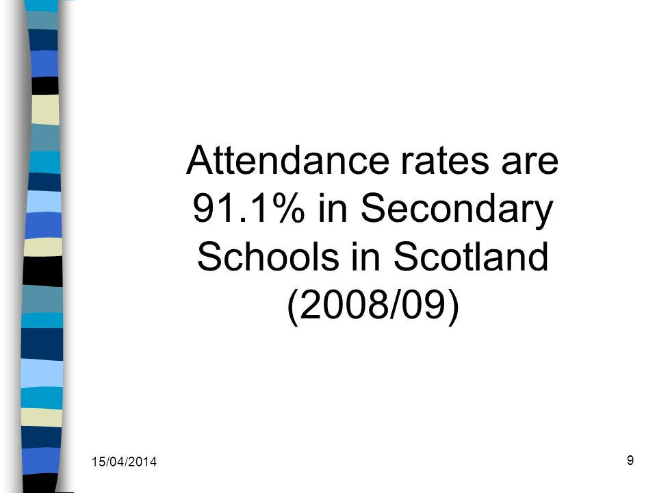 Attendance rates are 90.6% in Secondary Schools in WDC (2008/09) 15/04/2014 10