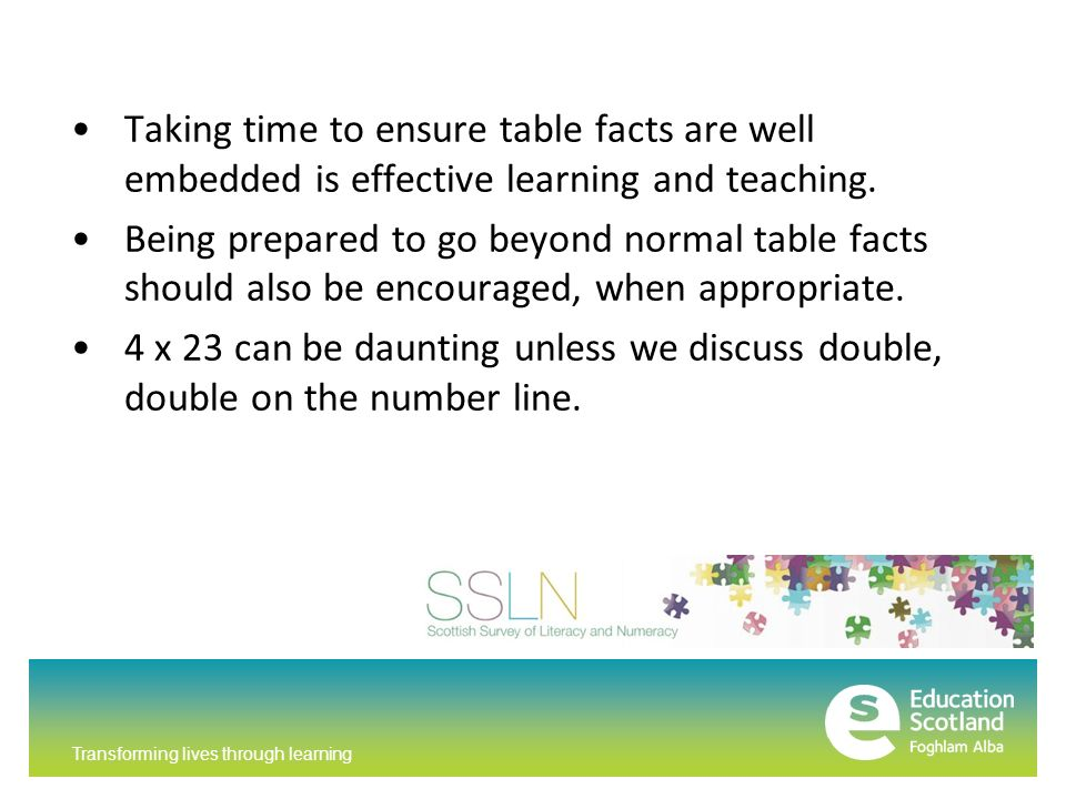 Transforming lives through learning Taking time to ensure table facts are well embedded is effective learning and teaching.