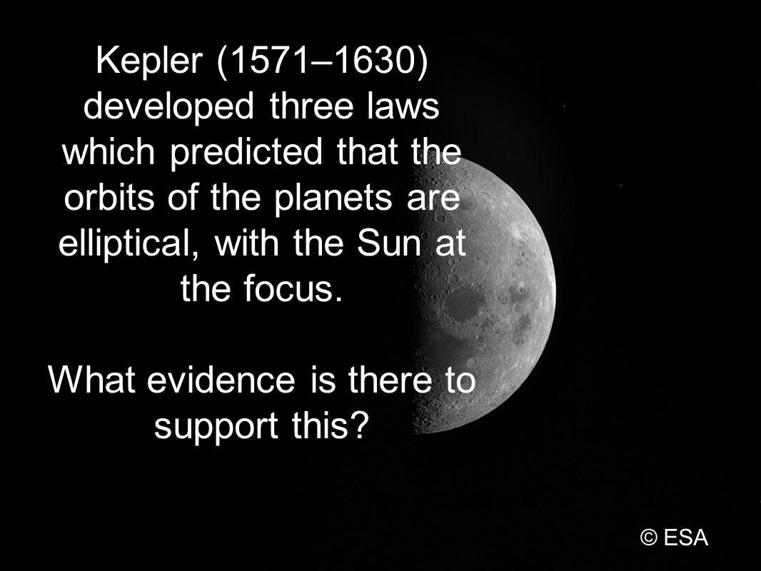 Kepler (1571–1630) developed three laws which predicted that the orbits of the planets are elliptical, with the Sun at the focus.