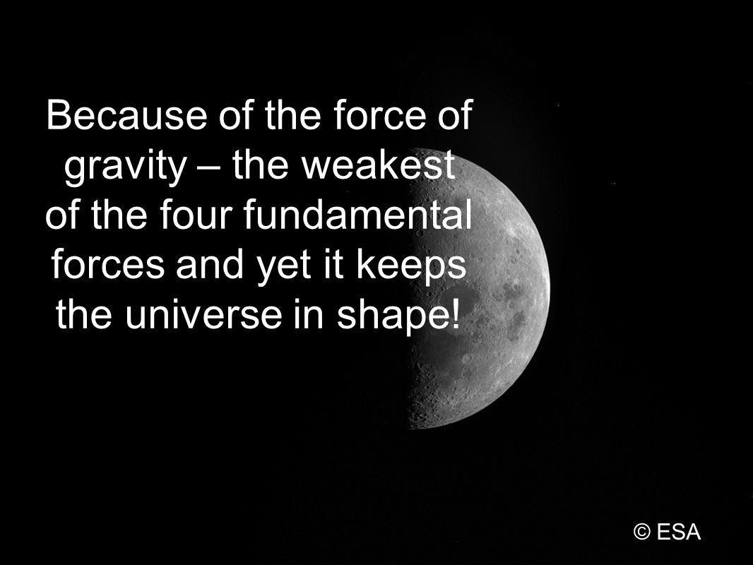 Because of the force of gravity – the weakest of the four fundamental forces and yet it keeps the universe in shape.