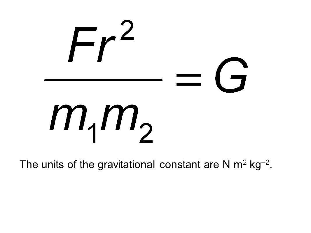 The units of the gravitational constant are N m 2 kg –2.