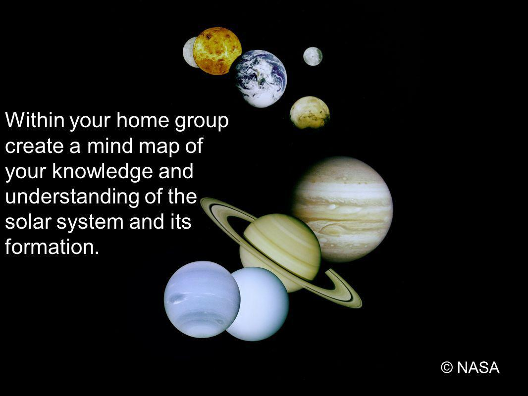 Within your home group create a mind map of your knowledge and understanding of the solar system and its formation.