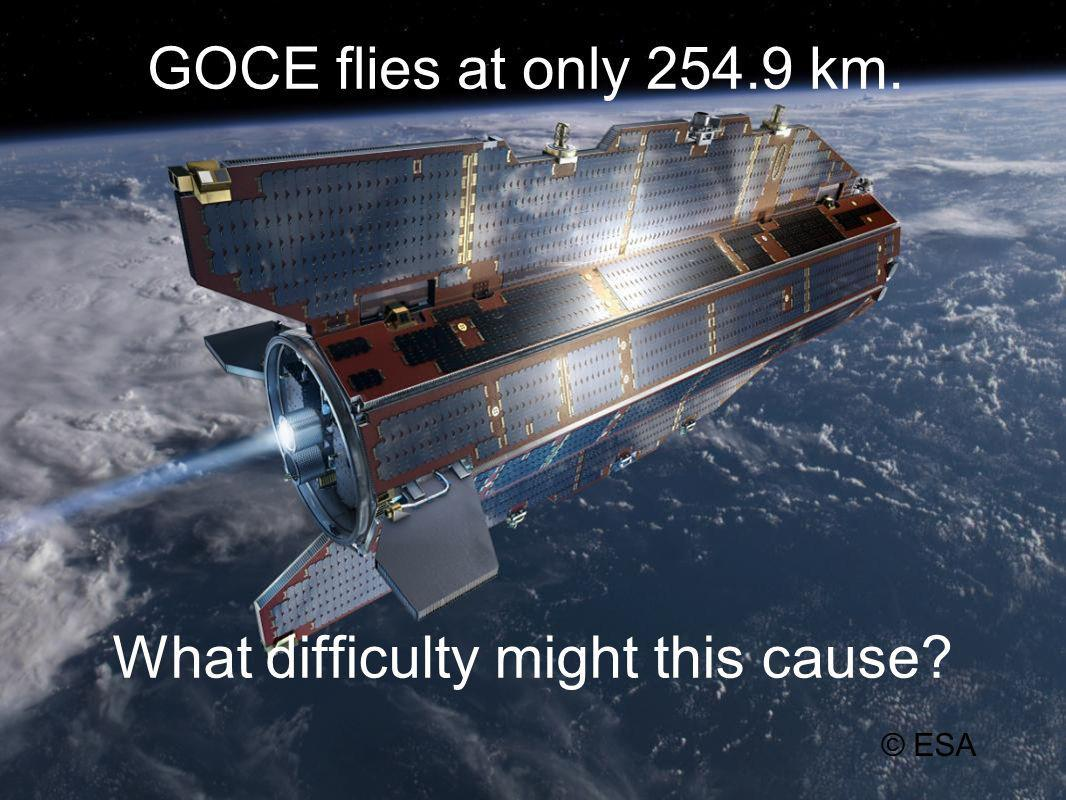 GOCE flies at only 254.9 km. What difficulty might this cause © ESA