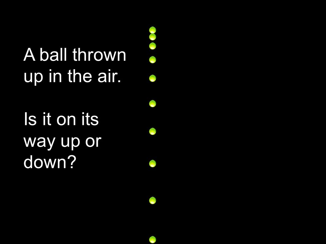 A ball thrown up in the air. Vertical velocity at maximum height?