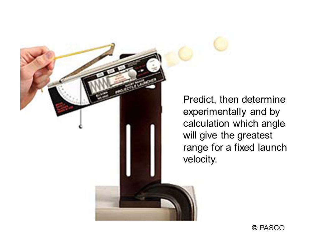 From the measured range, calculated what the launch velocity should be. Are the values the same? Explain! © PASCO Feedback