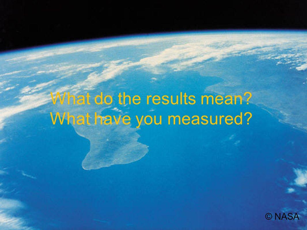 Uncertainties in your results © NASA