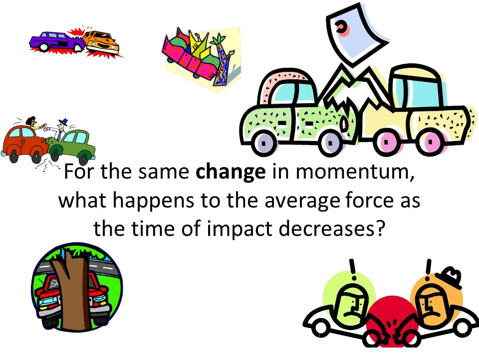 For the same change in momentum, what happens to the average force as the time of impact decreases?