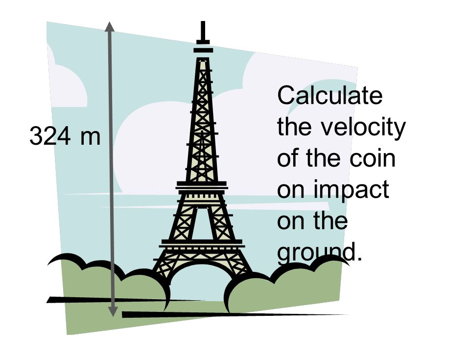 Calculate the velocity of the coin on impact on the ground. 324 m