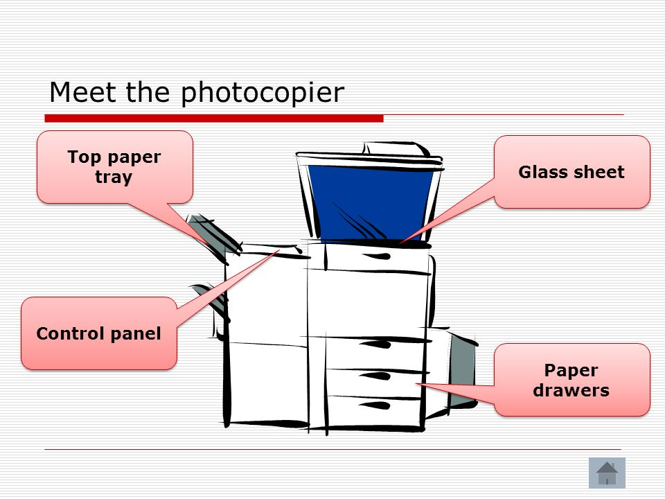 Meet the photocopier Top paper tray Glass sheet Paper drawers Control panel