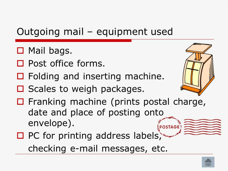 Outgoing mail – equipment used Mail bags.Post office forms.