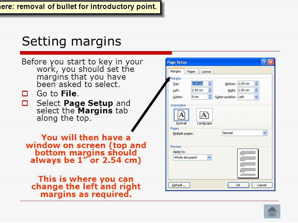 Setting margins Before you start to key in your work, you should set the margins that you have been asked to select.