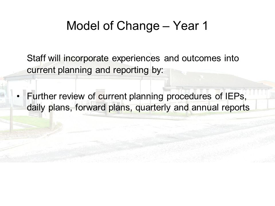 Model of Change – Year 1 Staff will incorporate experiences and outcomes into current planning and reporting by: Further review of current planning pr