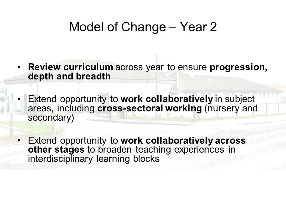 Model of Change – Year 2 Review curriculum across year to ensure progression, depth and breadth Extend opportunity to work collaboratively in subject