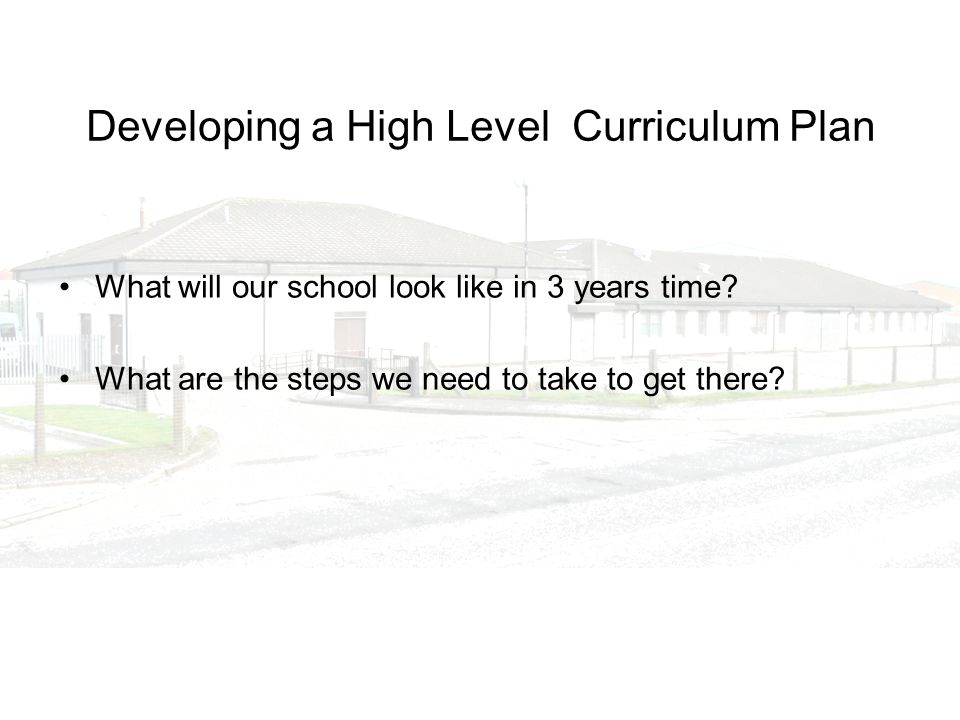 Developing a High Level Curriculum Plan What will our school look like in 3 years time? What are the steps we need to take to get there?