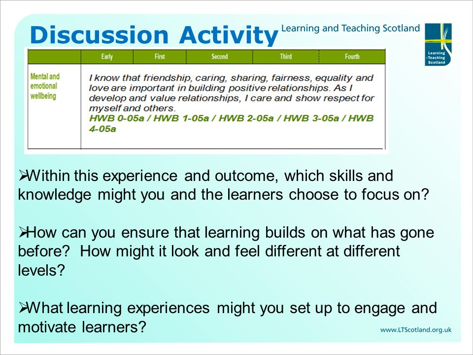 Within this experience and outcome, which skills and knowledge might you and the learners choose to focus on? How can you ensure that learning builds