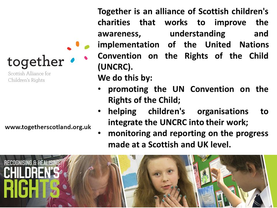 This report provides a non-government perspective on the extent to which children in Scotland are able to enjoy their rights enshrined in the United Nations Convention on the Rights of the Child (UNCRC).
