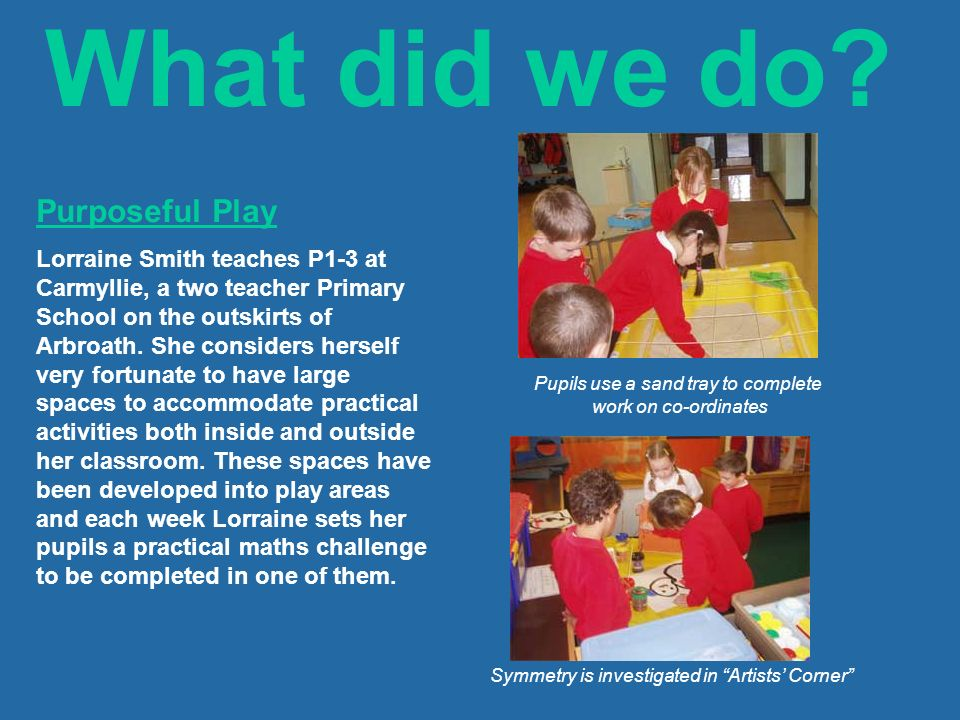 What did we do? Purposeful Play Lorraine Smith teaches P1-3 at Carmyllie, a two teacher Primary School on the outskirts of Arbroath. She considers her