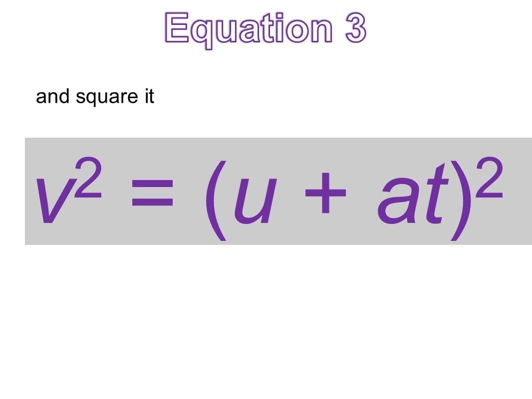 v 2 = (u + at) 2 and square it