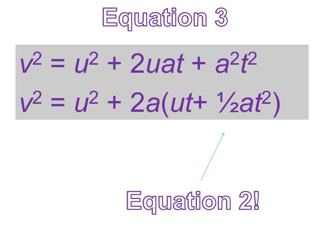 v 2 = u 2 + 2uat + a 2 t 2 v 2 = u 2 + 2a(ut+ ½at 2 )