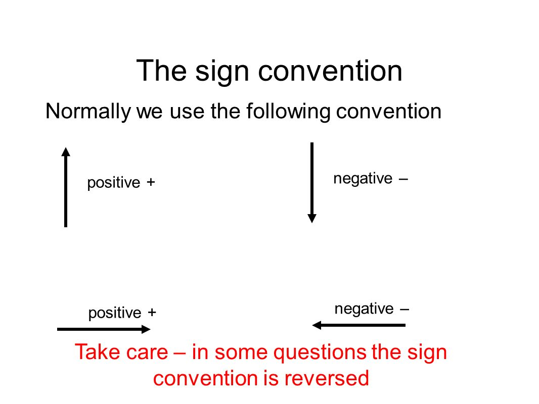 The sign convention Normally we use the following convention positive + negative – positive + negative – Take care – in some questions the sign conven