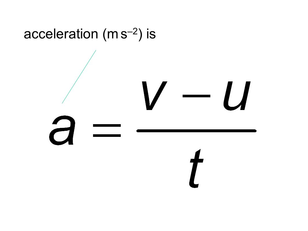 acceleration (m s –2 ) is