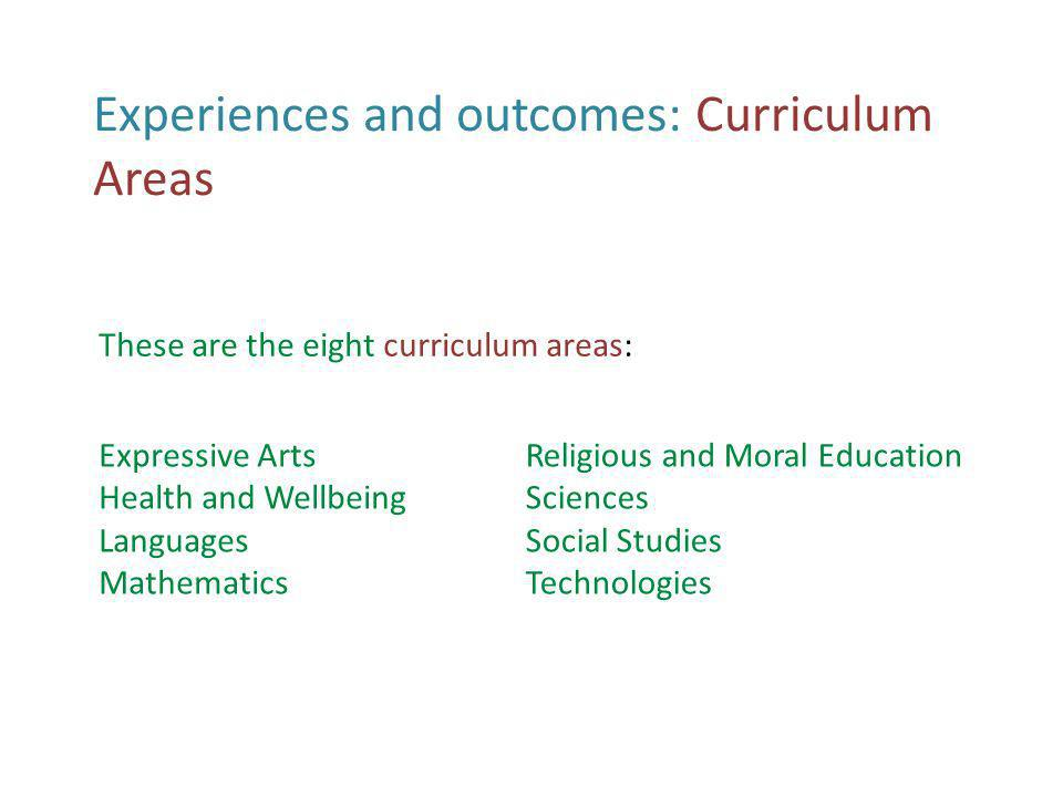 Experiences and outcomes Here is a snapshot of the Health and Wellbeing document.