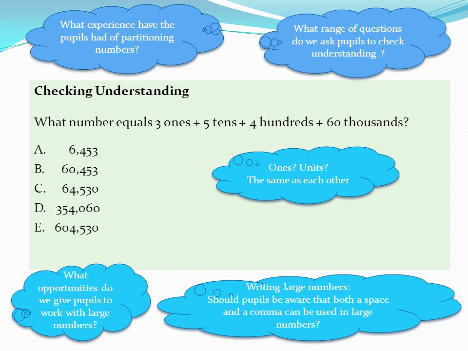 Checking Understanding What number equals 3 ones + 5 tens + 4 hundreds + 60 thousands.