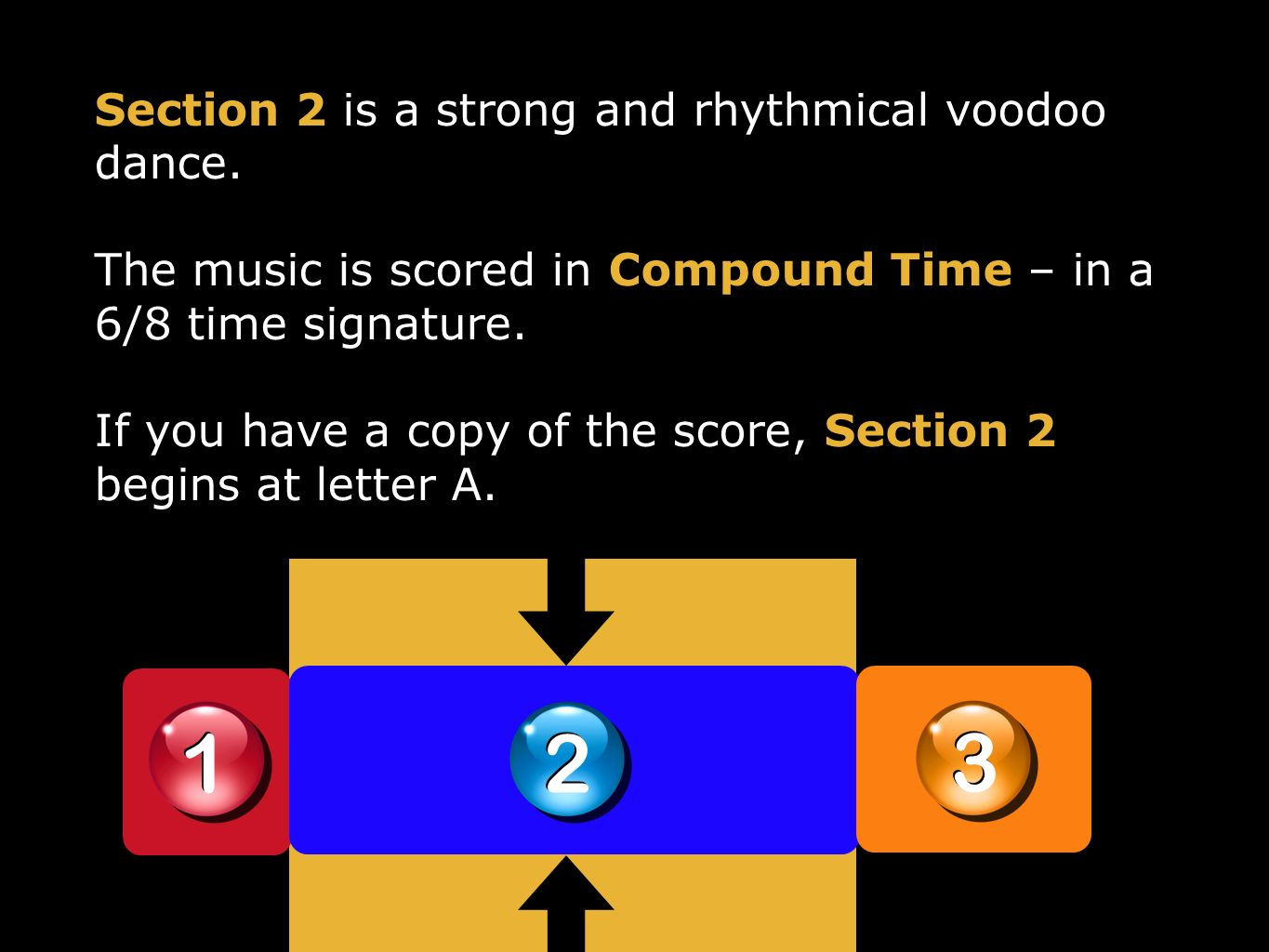 1 1 2 2 3 3 Section 2 is a strong and rhythmical voodoo dance. The music is scored in Compound Time – in a 6/8 time signature. If you have a copy of t