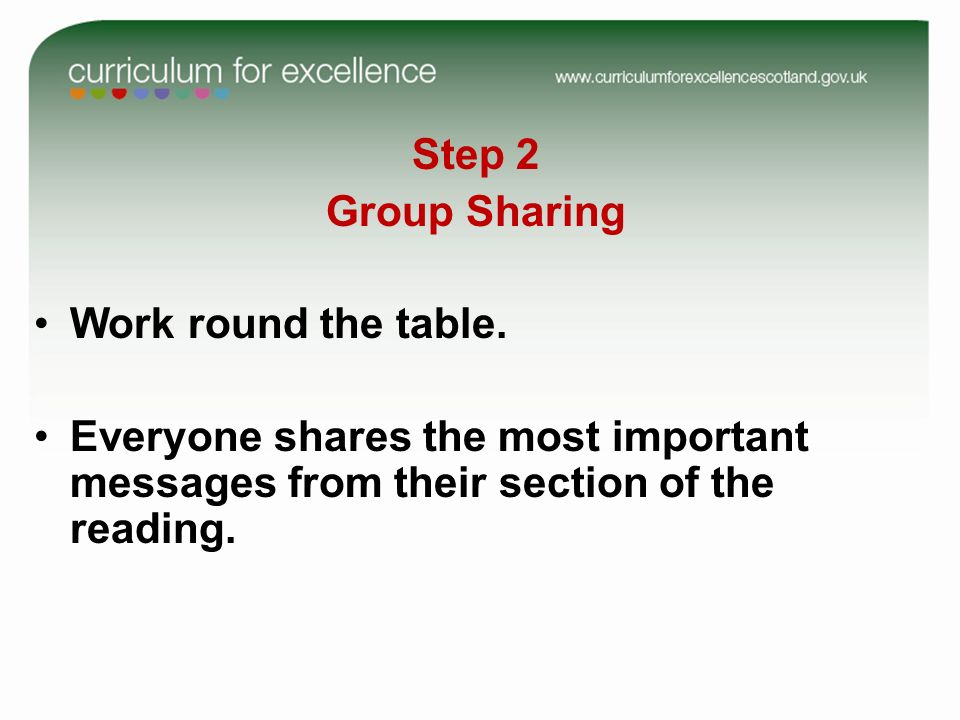 Step 2 Group Sharing Work round the table. Everyone shares the most important messages from their section of the reading.