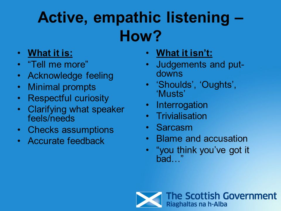 Active, empathic listening – How.