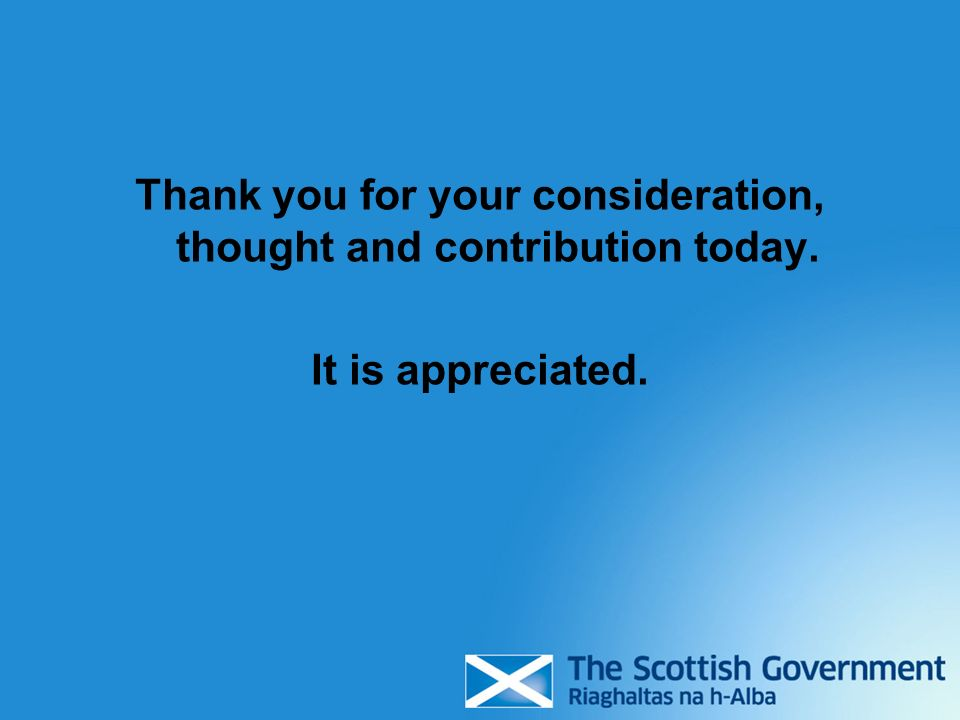 Thank you for your consideration, thought and contribution today. It is appreciated.