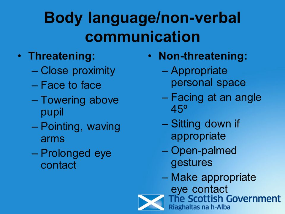 Body language/non-verbal communication Threatening: –Close proximity –Face to face –Towering above pupil –Pointing, waving arms –Prolonged eye contact Non-threatening: –Appropriate personal space –Facing at an angle 45º –Sitting down if appropriate –Open-palmed gestures –Make appropriate eye contact