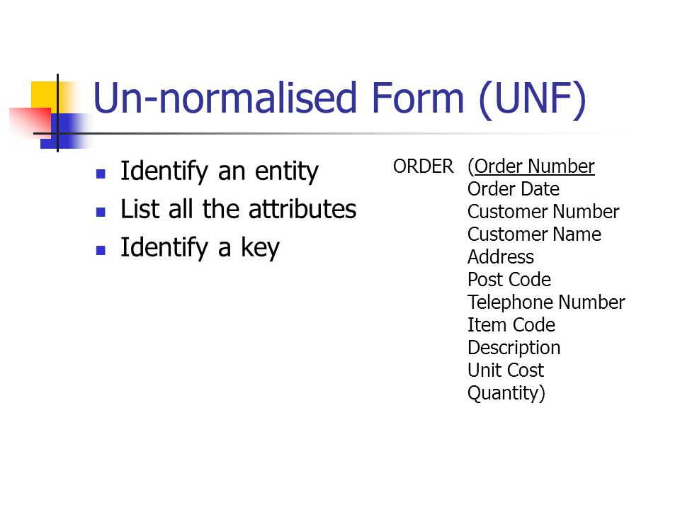 Un-normalised Form (UNF) Identify an entity List all the attributes Identify a key ORDER(Order Number Order Date Customer Number Customer Name Address Post Code Telephone Number Item Code Description Unit Cost Quantity)