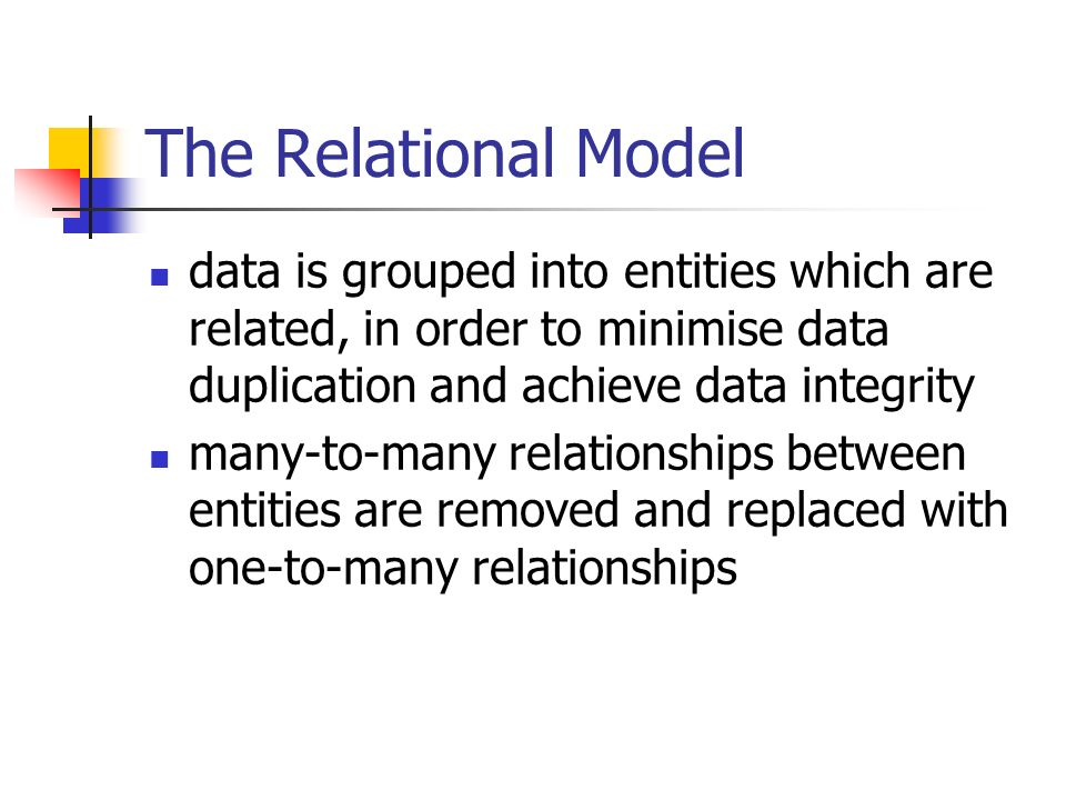 The Relational Model data is grouped into entities which are related, in order to minimise data duplication and achieve data integrity many-to-many re