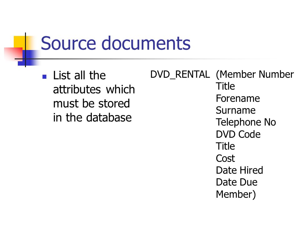 List all the attributes which must be stored in the database DVD_RENTAL(Member Number Title Forename Surname Telephone No DVD Code Title Cost Date Hired Date Due Member)