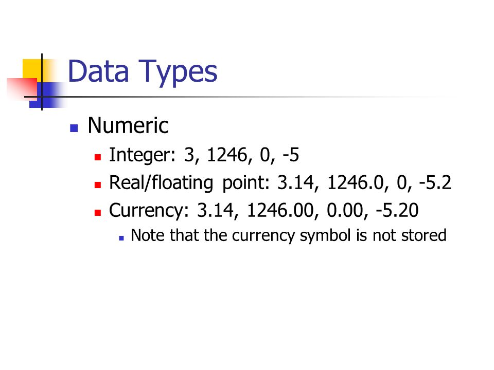 Data Types Numeric Integer: 3, 1246, 0, -5 Real/floating point: 3.14, 1246.0, 0, -5.2 Currency: 3.14, 1246.00, 0.00, -5.20 Note that the currency symbol is not stored