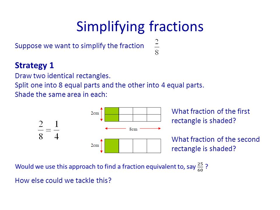Simplifying fractions Suppose we want to simplify the fraction Strategy 1 Draw two identical rectangles.