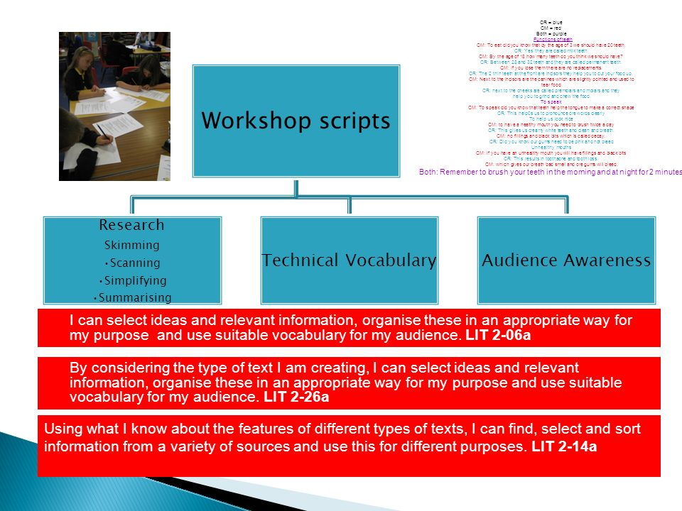 Workshop scripts Research Skimming Scanning Simplifying Summarising Technical VocabularyAudience Awareness I can select ideas and relevant information