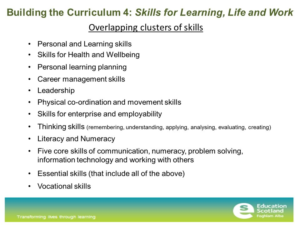 Overlapping clusters of skills Building the Curriculum 4: Skills for Learning, Life and Work