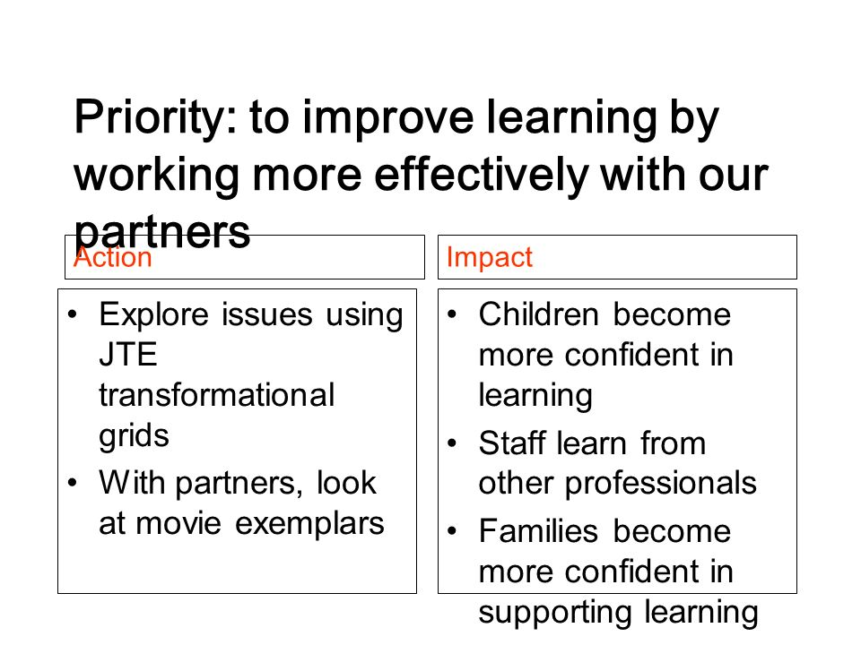 Priority: to improve learning by working more effectively with our partners Explore issues using JTE transformational grids With partners, look at mov