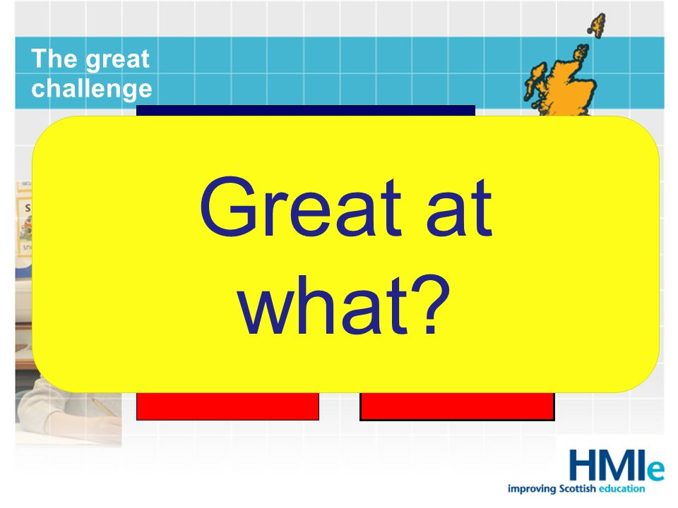 Good Great The great challenge It was great that it became better, but it would have been better had it become great. Mollehave Great at what?