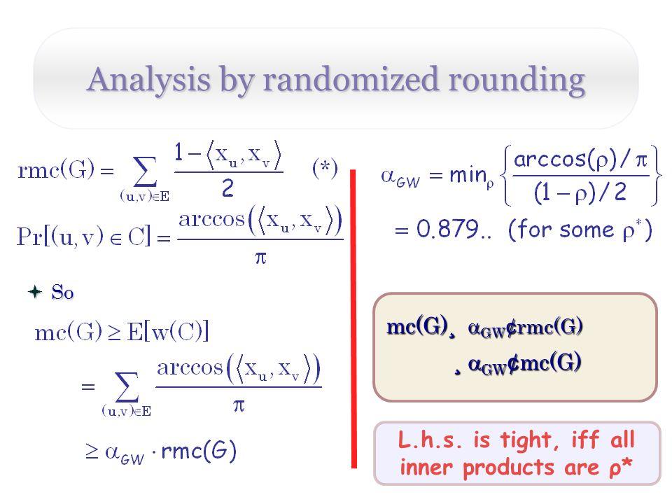 Analysis by randomized rounding L.h.s.