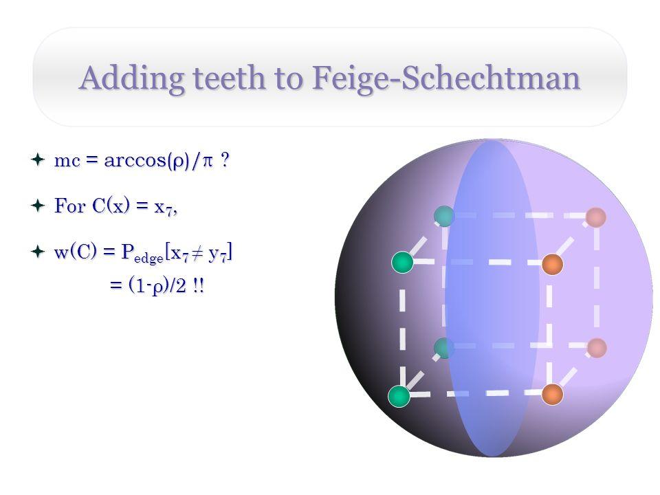 Adding teeth to Feige-Schechtman mc = arccos(ρ)/ .