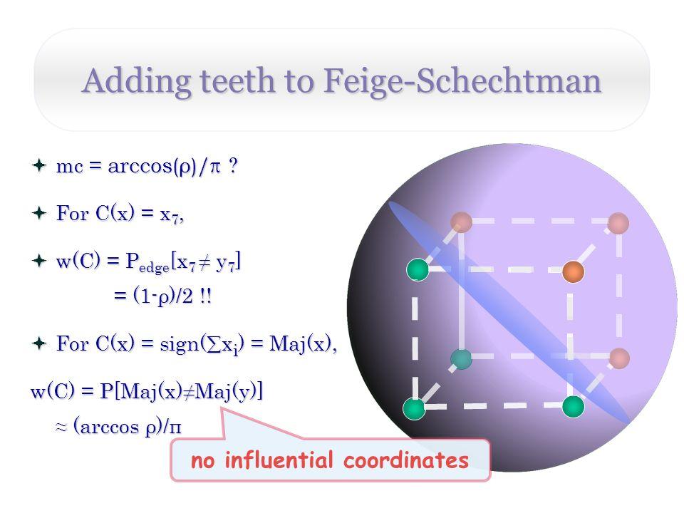 Adding teeth to Feige-Schechtman no influential coordinates mc = arccos(ρ)/ .
