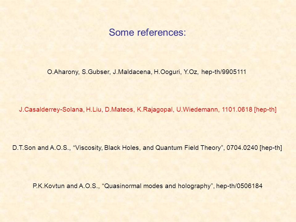 Some references: O.Aharony, S.Gubser, J.Maldacena, H.Ooguri, Y.Oz, hep-th/9905111 P.K.Kovtun and A.O.S., Quasinormal modes and holography, hep-th/0506