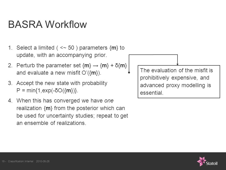 19 -Classification: Internal BASRA Workflow 1.Select a limited ( <~ 50 ) parameters {m} to update, with an accompanying prior.
