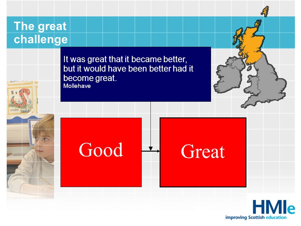 Good Great The great challenge It was great that it became better, but it would have been better had it become great. Mollehave