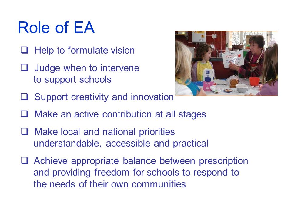 Role of EA Help to formulate vision Judge when to intervene to support schools Support creativity and innovation Make an active contribution at all st