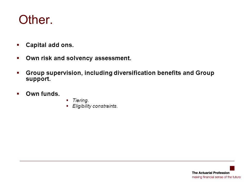 Other. Capital add ons. Own risk and solvency assessment.